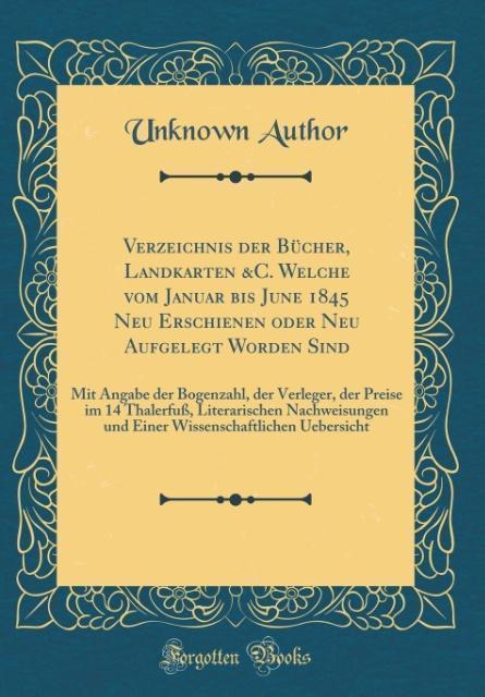 Verzeichnis der Bücher, Landkarten &C. Welche v...