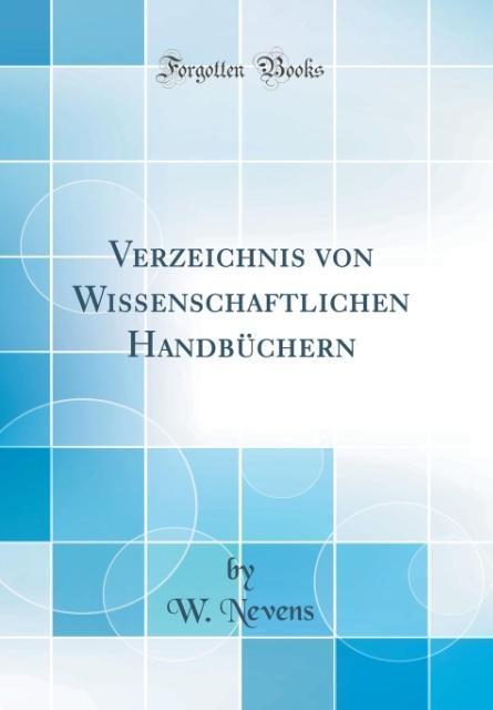 Verzeichnis von Wissenschaftlichen Handbüchern ...