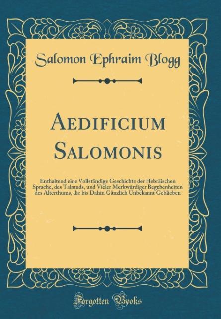 Aedificium Salomonis als Buch von Salomon Ephra...