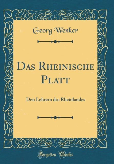 Das Rheinische Platt als Buch von Georg Wenker
