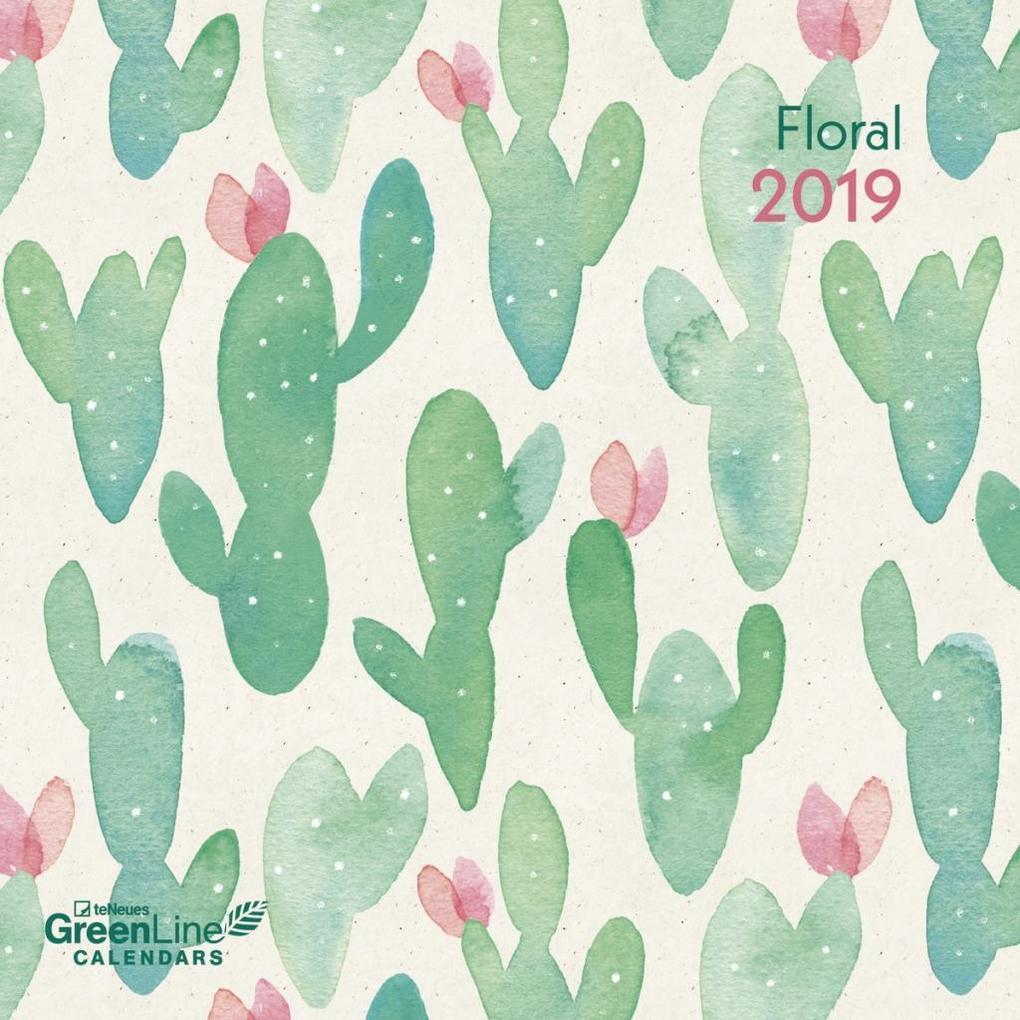 2019 Floral GreenLine Grid Calendar als Kalender