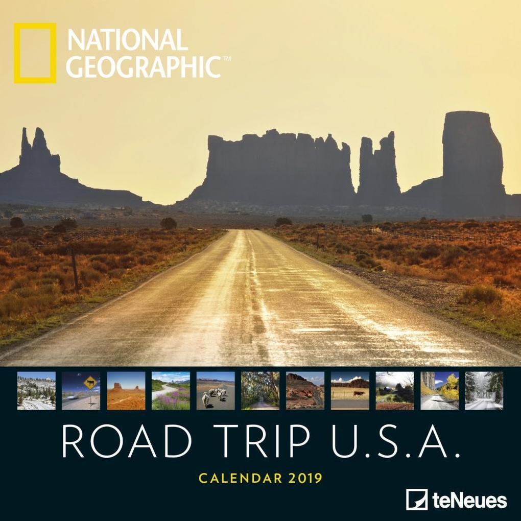 2019 Nat Geo Road Trip USA 30x30 Grid Ca als Kalender