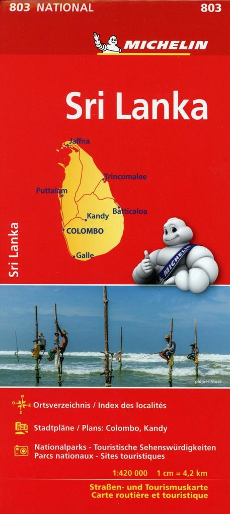 Michelin Sri Lanka. Straßen- und Tourismuskarte...