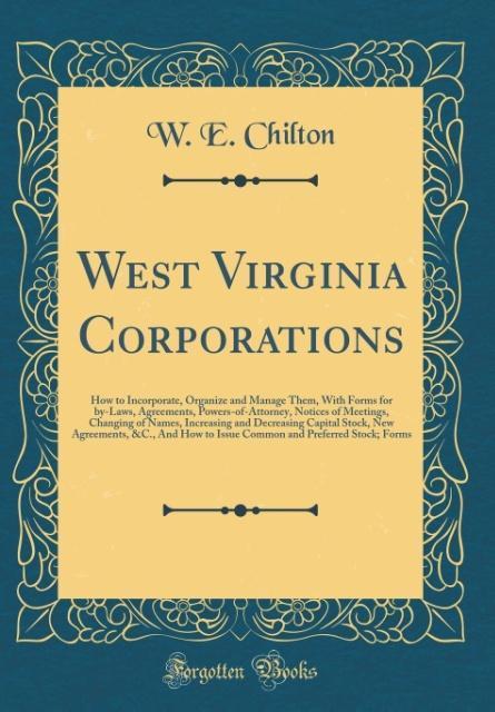 West Virginia Corporations als Buch von W. E. C...