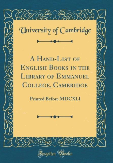 A Hand-List of English Books in the Library of ...