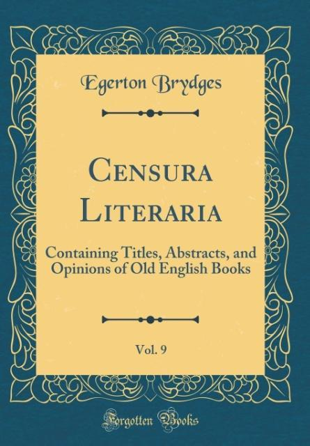 Censura Literaria, Vol. 9 als Buch von Egerton ...