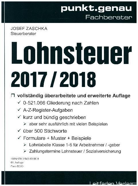 Lohnsteuer 2017 / 2018 als Buch von Josef Zaschka