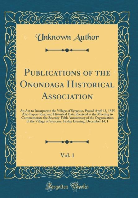 Publications of the Onondaga Historical Associa...