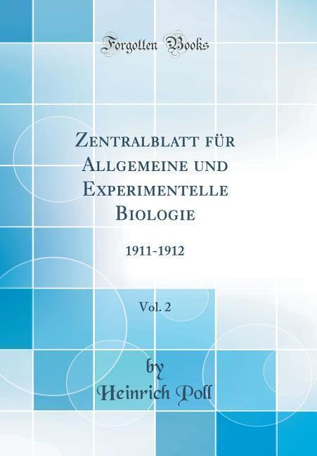 Zentralblatt für Allgemeine und Experimentelle ...