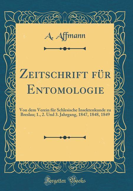 Zeitschrift für Entomologie als Buch von A. Aff...