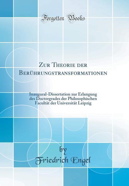 Zur Theorie der Berührungstransformationen als ...