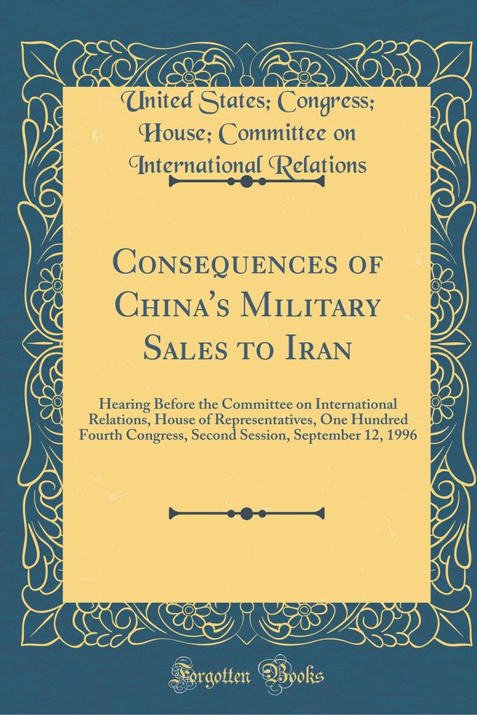 Consequences of China´s Military Sales to Iran ...