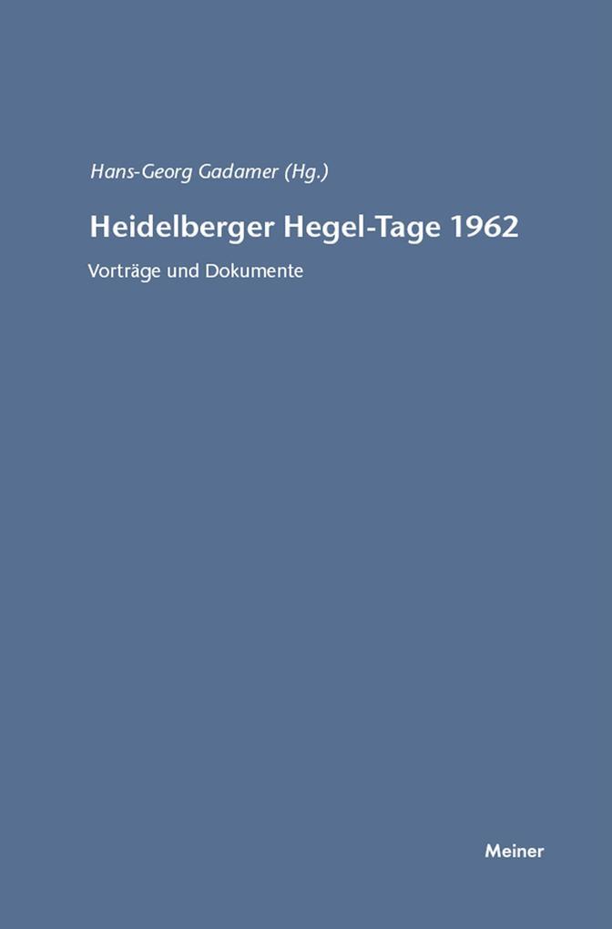 Heidelberger Hegel-Tage 1962