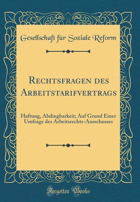 Rechtsfragen des Arbeitstarifvertrags als Buch ...