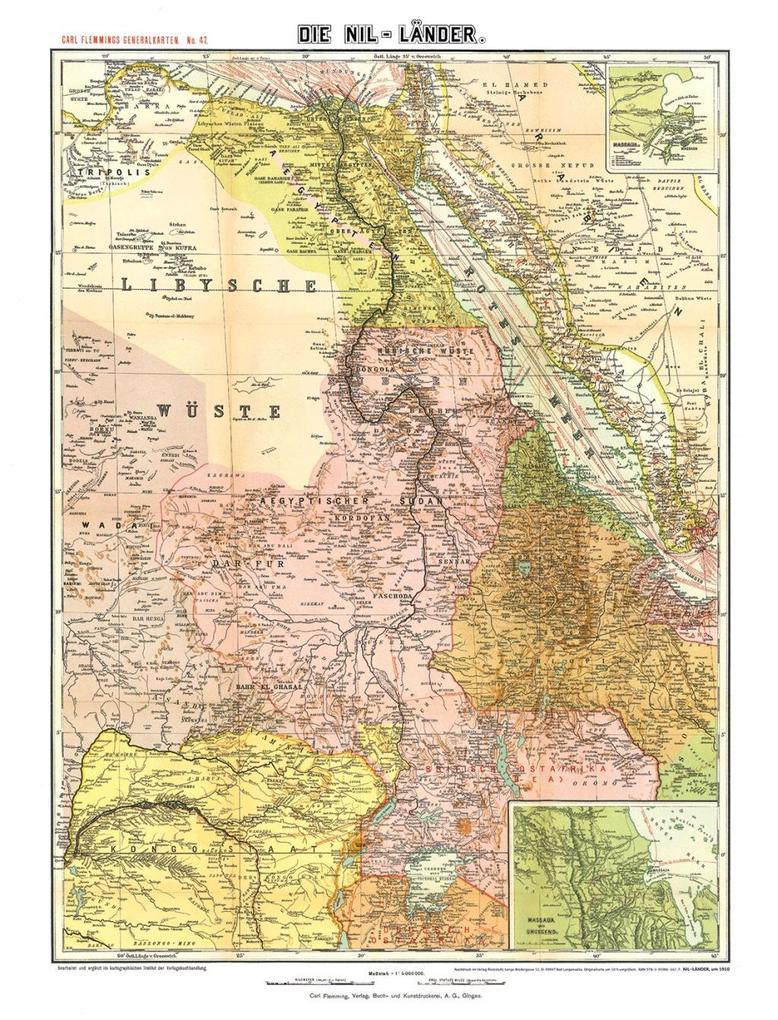 Historische Karte: Die NIL-LÄNDER - um 1910 [ge...