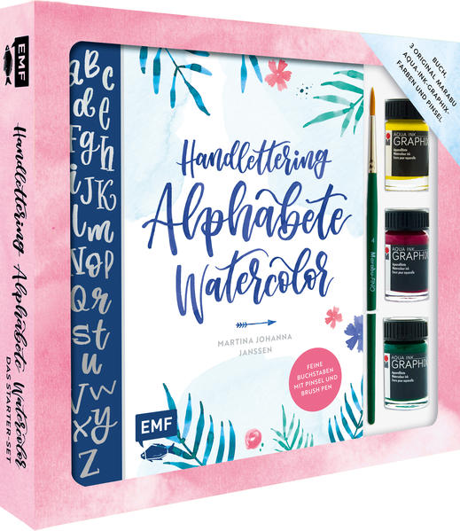 Handlettering Alphabete Watercolor - Das Starter-Set - Feine Buchstaben mit Pinsel und Brush Pen als Buch (geheftet)
