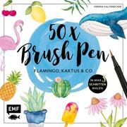 50 x Brush Pen - Flamingo, Kaktus und Co.