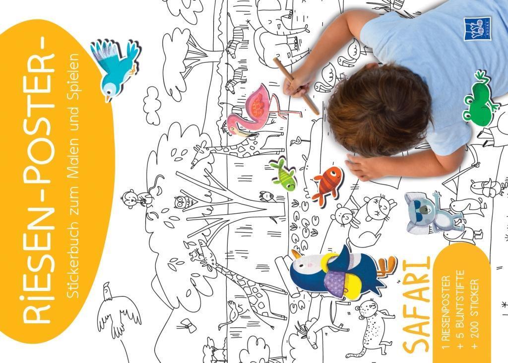 Riesen-Poster-Stickerbuch zum Malen und Spielen - Safari als Sonstiger Artikel