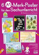 6 A1-Poster für den Sachunterricht - Deutschland, Europa, Wasserkreislauf, Sonnensystem, Bäume, Ernährungspyramide