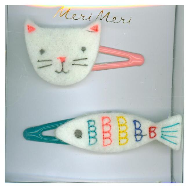 Bestickte Haarspangen Katze & Fisch