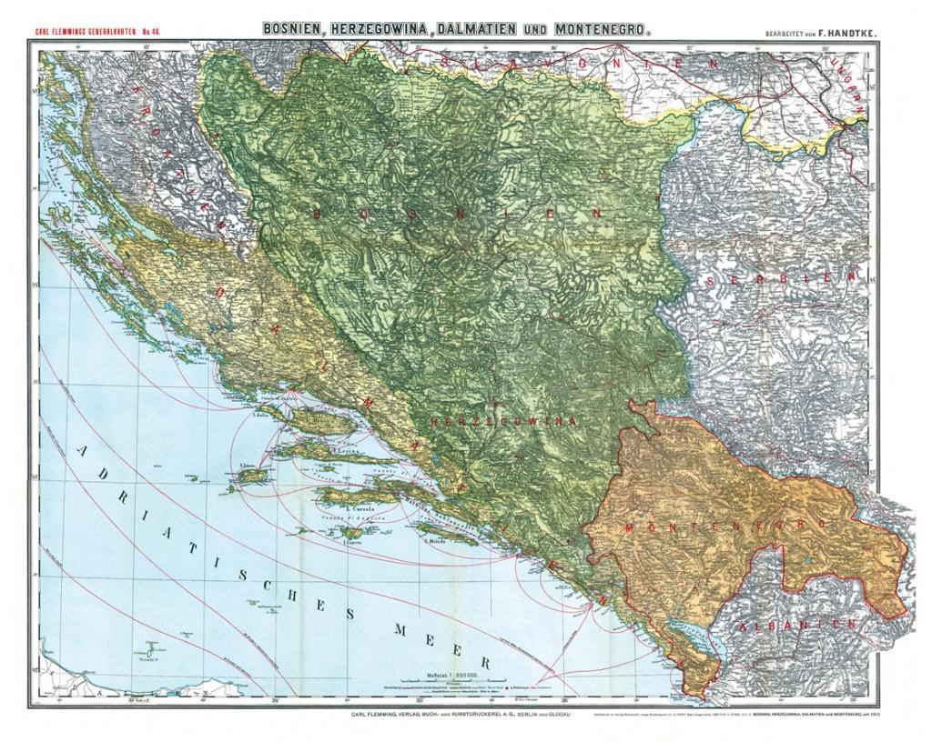 Historische Karte: BOSNIEN, HERZEGOWINA, MONTEN...