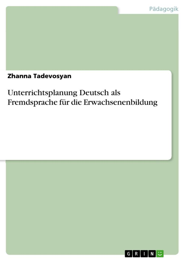 Unterrichtsplanung Deutsch als Fremdsprache für...