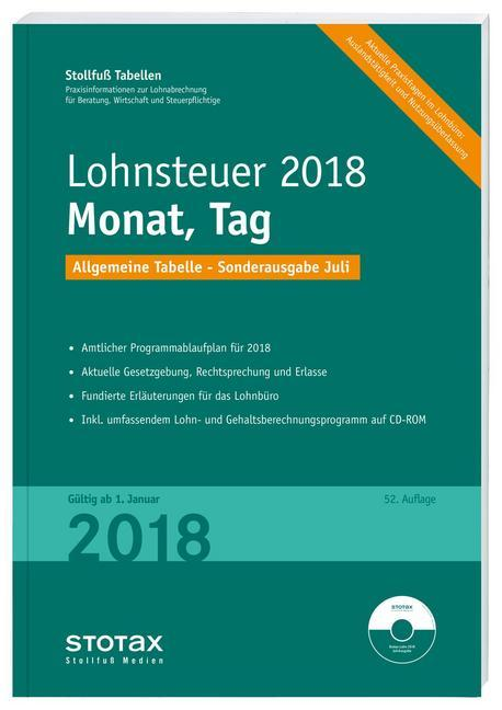 Tabelle, Lohnsteuer 2018 Monat, Tag - Sonderaus...
