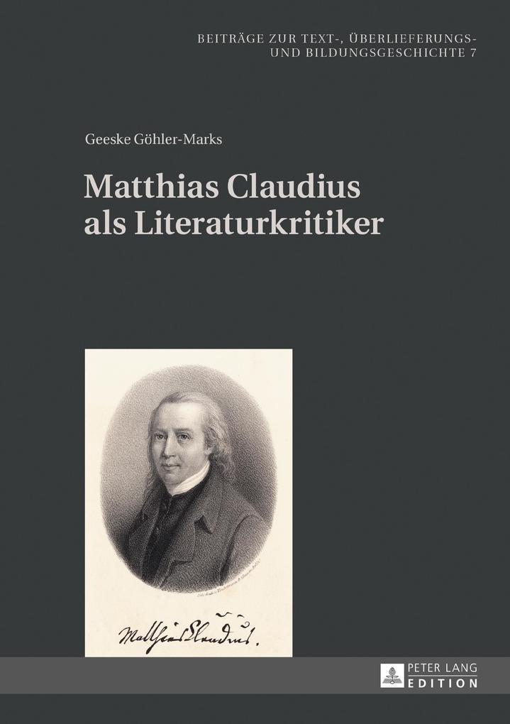 Matthias Claudius als Literaturkritiker als eBook