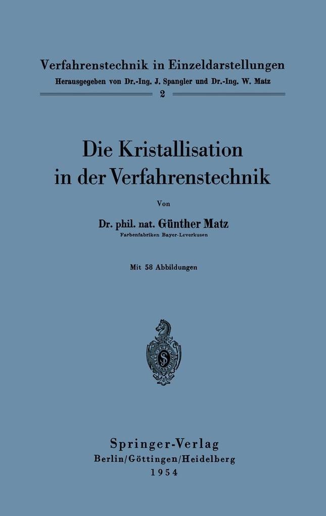 Die Kristallisation in der Verfahrenstechnik al...