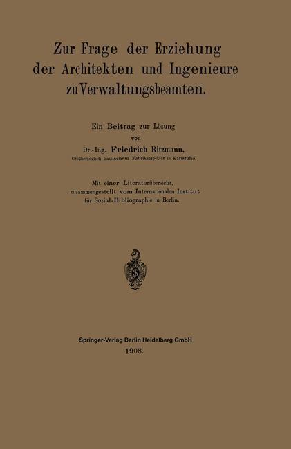 Zur Frage der Erziehung der Architekten und Ing...