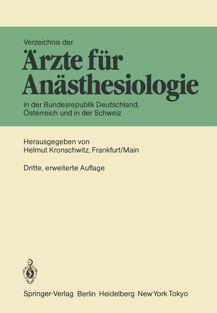 Verzeichnis der Arzte fur Anasthesiologie in de...