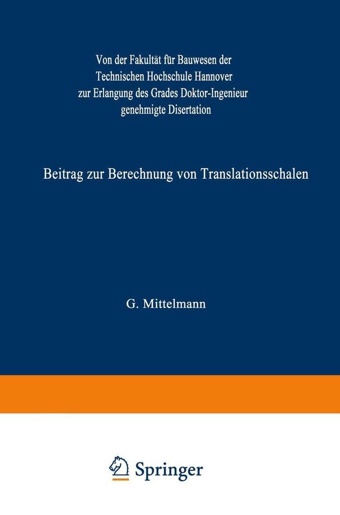 Beitrag zur Berechnung von Translationsschalen ...