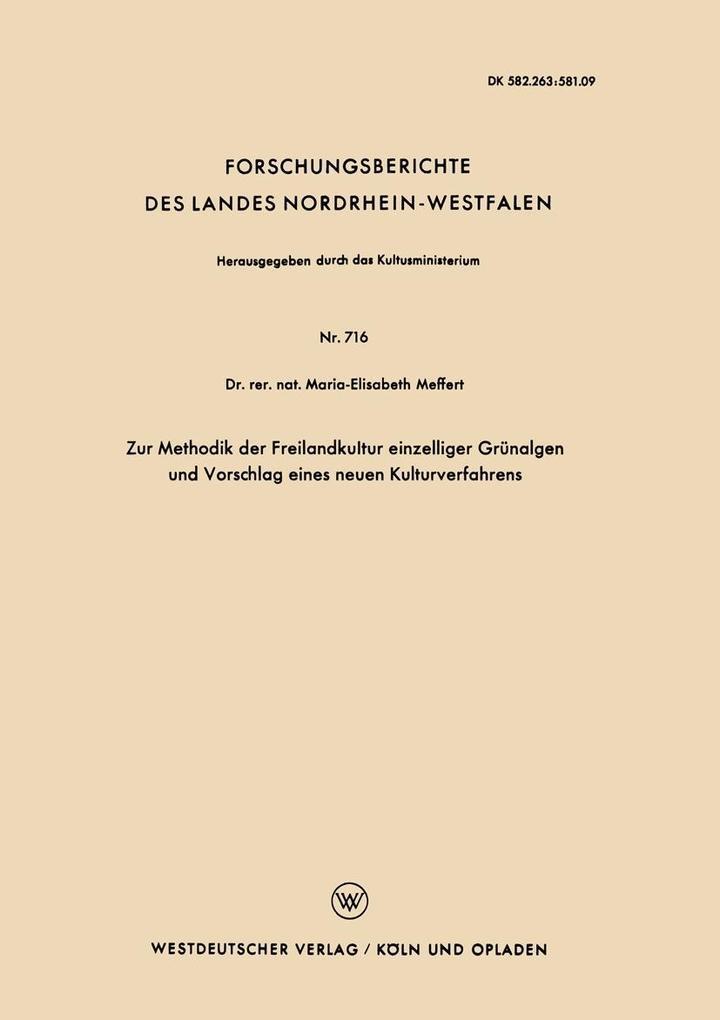 Zur Methodik der Freilandkultur einzelliger Gru...