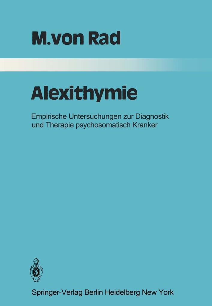 Alexithymie als eBook Download von M. v. Rad