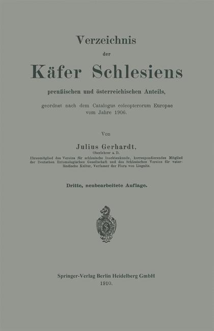 Verzeichnis der Kafer Schlesiens als eBook Down...