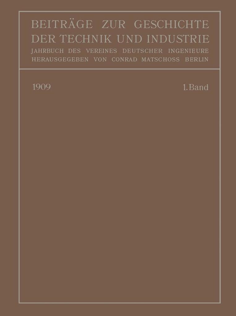 Beitrage zur Geschichte der Technik und Industr...