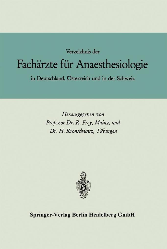 Verzeichnis der Facharzte fur Anaesthesiologie ...
