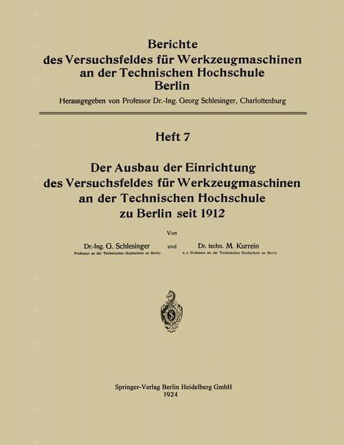 Der Ausbau der Einrichtung des Versuchsfeldes f...