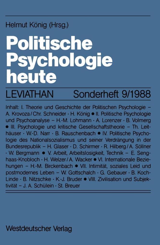Politische Psychologie heute als eBook Download...