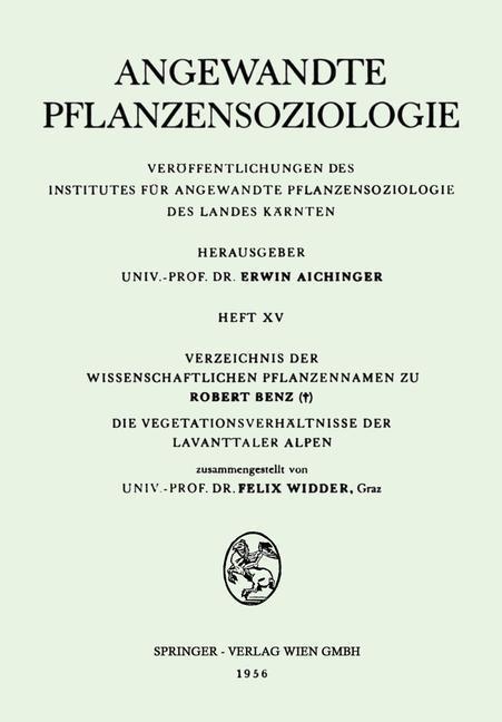 Verzeichnis der Wissenschaftlichen Pflanzenname...
