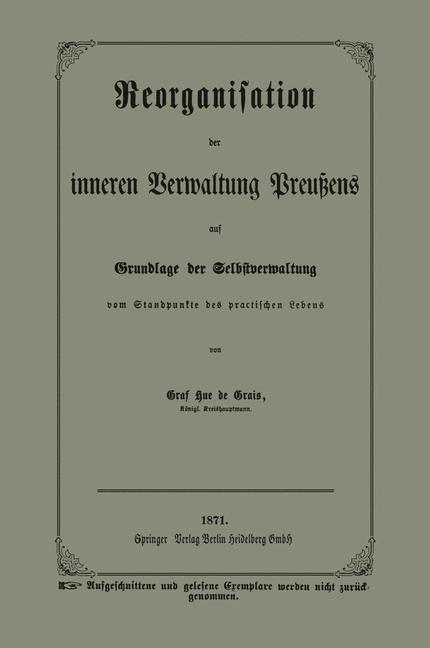 Reorganisation der inneren Verwaltung Preuens a...