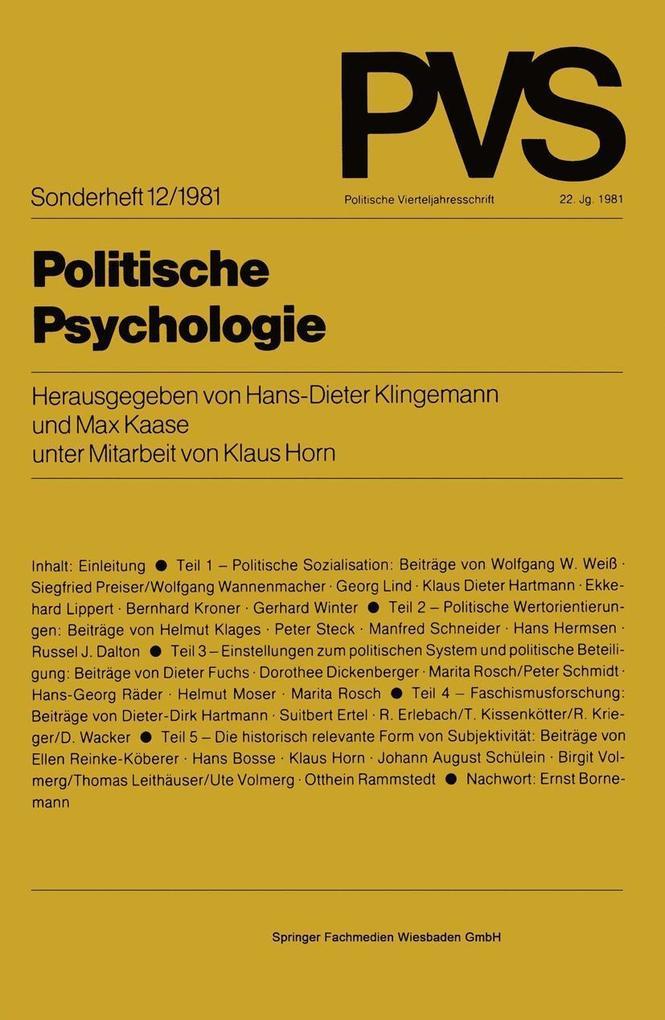 Politische Psychologie als eBook Download von
