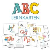 ABC-Lernkarten der Tiere, Bildkarten, Wortkarten, Flash Cards mit Groß- und Kleinbuchstaben