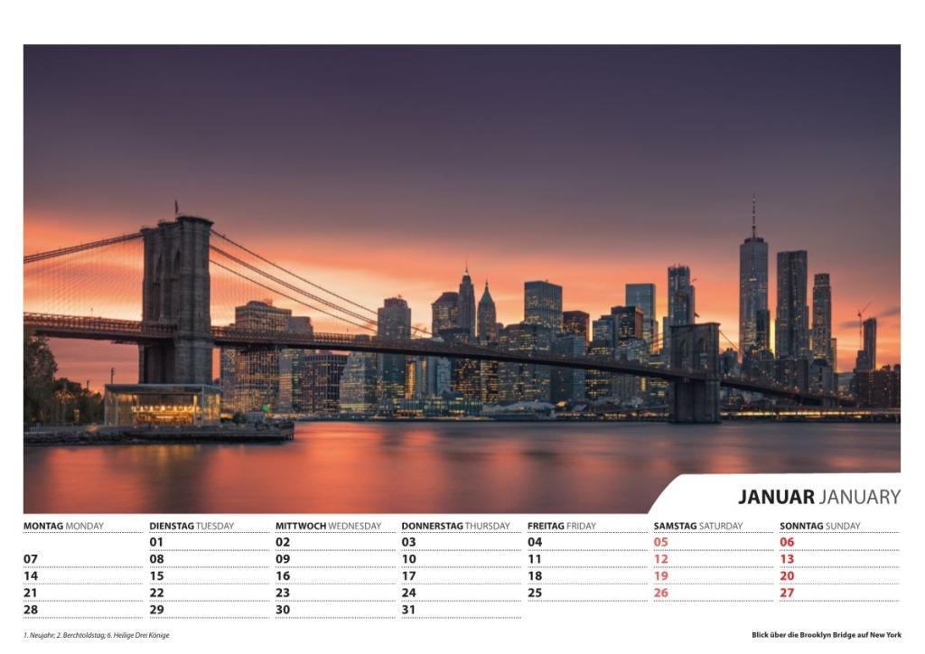 Foto-Wandkalender Städte 2019 - DIN A3 quer mit...