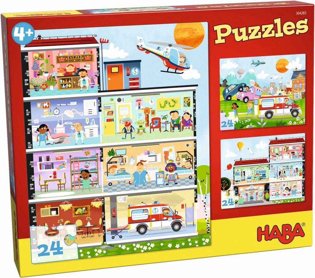 3 Motive je 24 Teile Spiel Deutsch 2018 Puzzles Kleines Krankenhaus Geduldspiel
