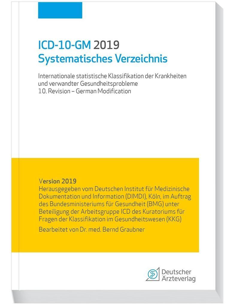 ICD-10-GM 2019Systematisches Verzeichnis als Buch