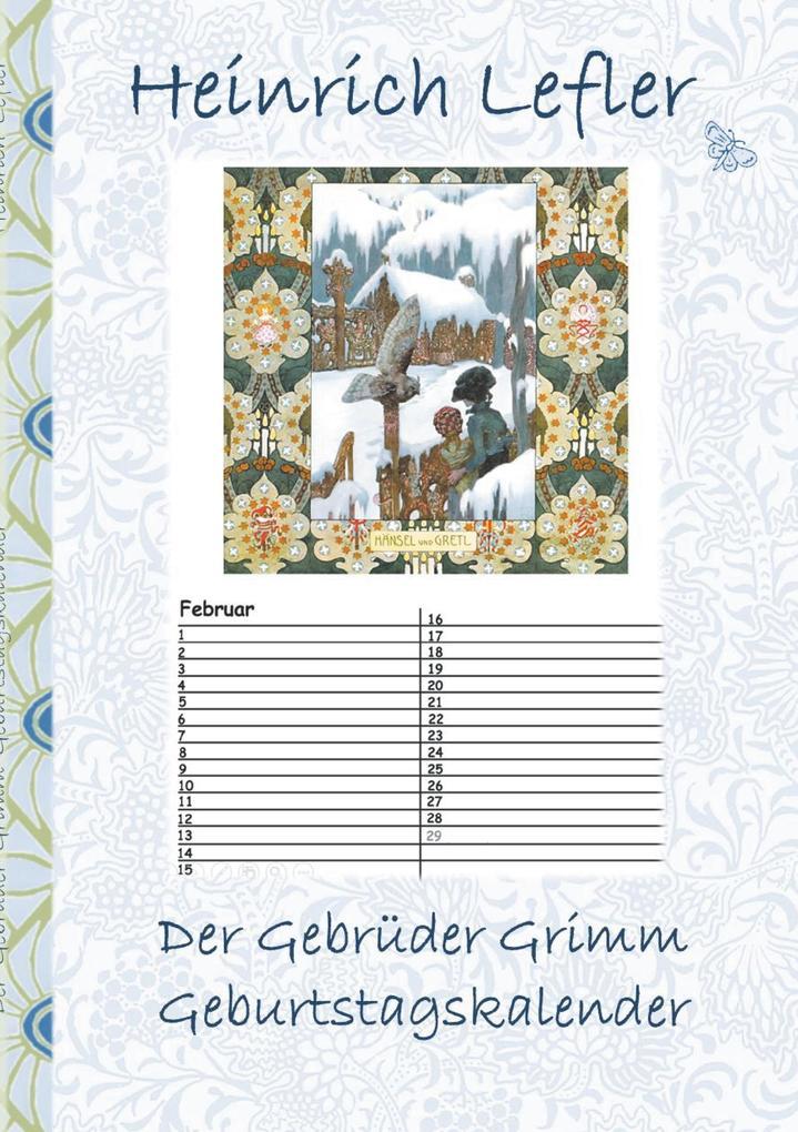 Der Gebrüder Grimm Geburtstagskalender als Buch...
