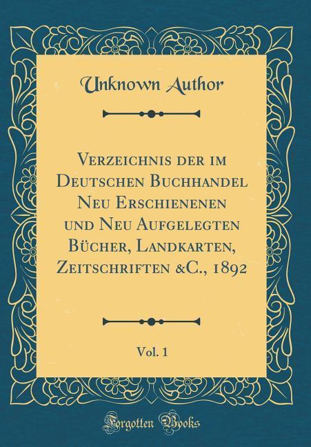 Verzeichnis der im Deutschen Buchhandel Neu Ers...