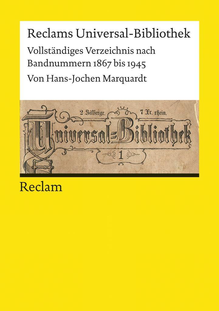 Reclams Universal-Bibliothek. Vollständiges Ver...