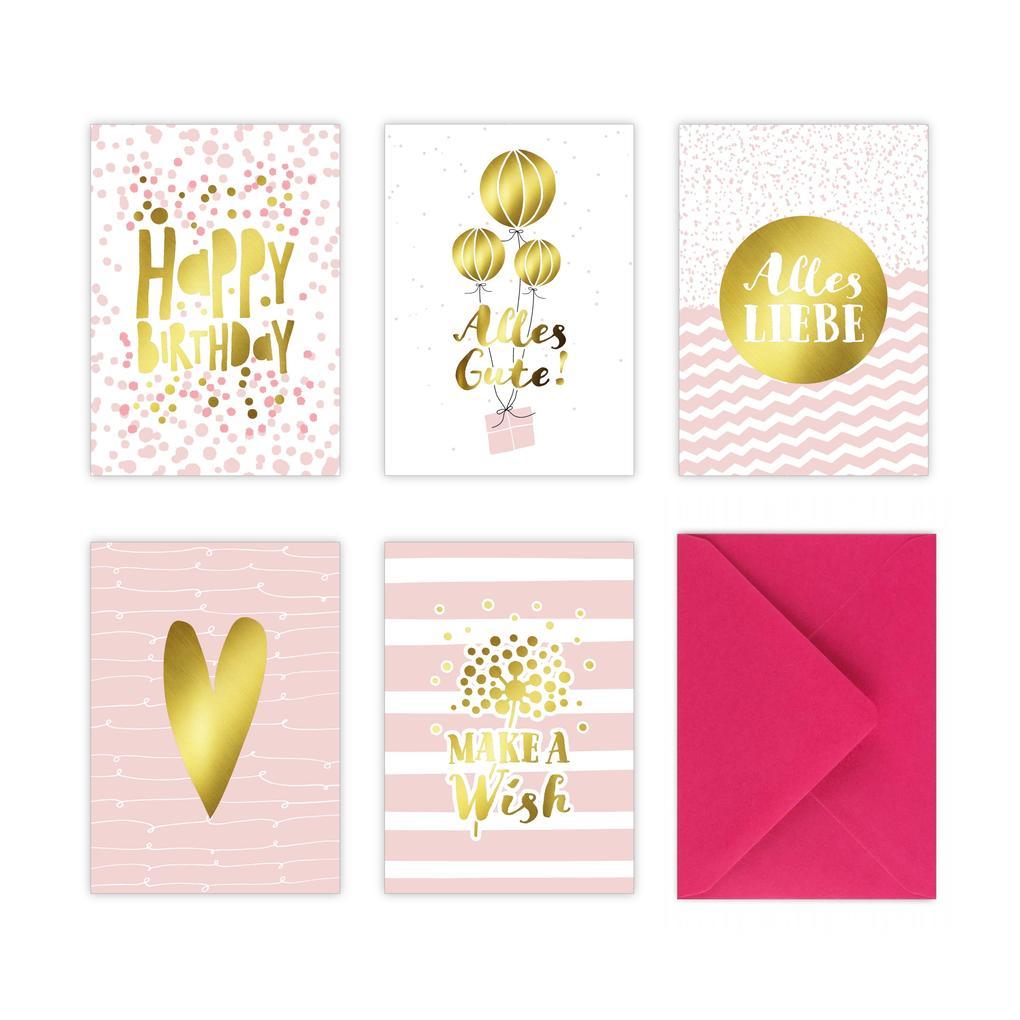 5 Geburtstagskarten Im Set Inkl Umschläge In Pink Rosa Glückwunschkarten Zum In Din A6 Mit Edler Folienprägung